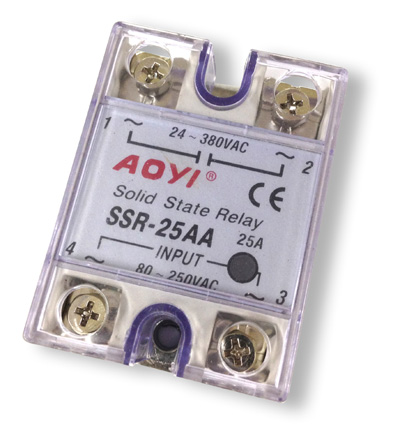 Relay electrónico Solid State - In 250 VAC - OUT 380VAC, 25A